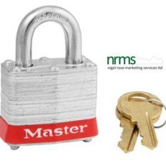 Laminated Steel Padlock with Coloured Bumper from Nigel Rose (MS) Ltd. Lock Wholesale