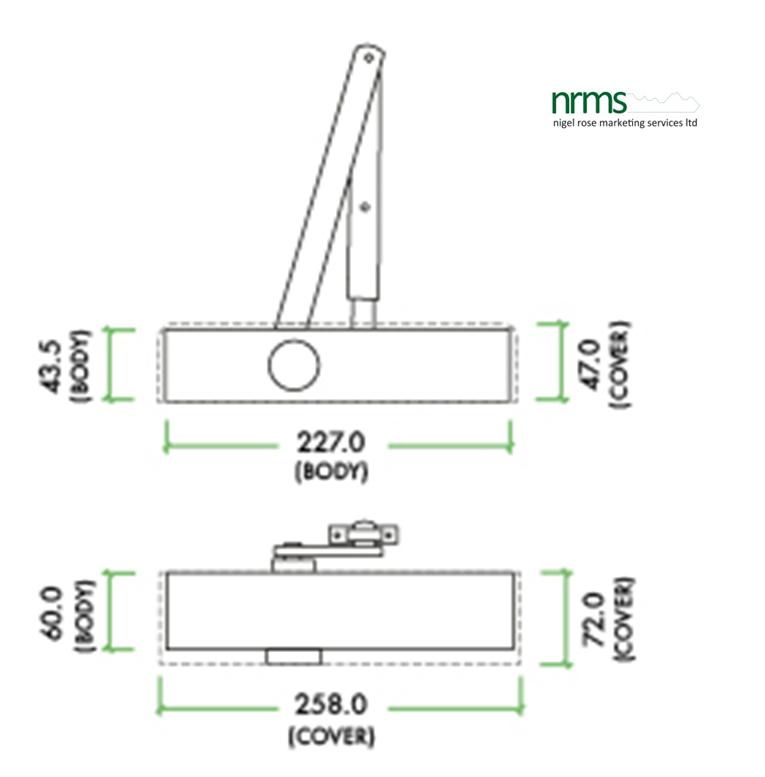 Size 2-5 Door Closer c/w Back Check & Delayed Action